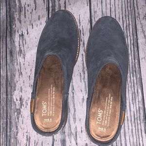 Toms Blue Suede Mules Size 8.5